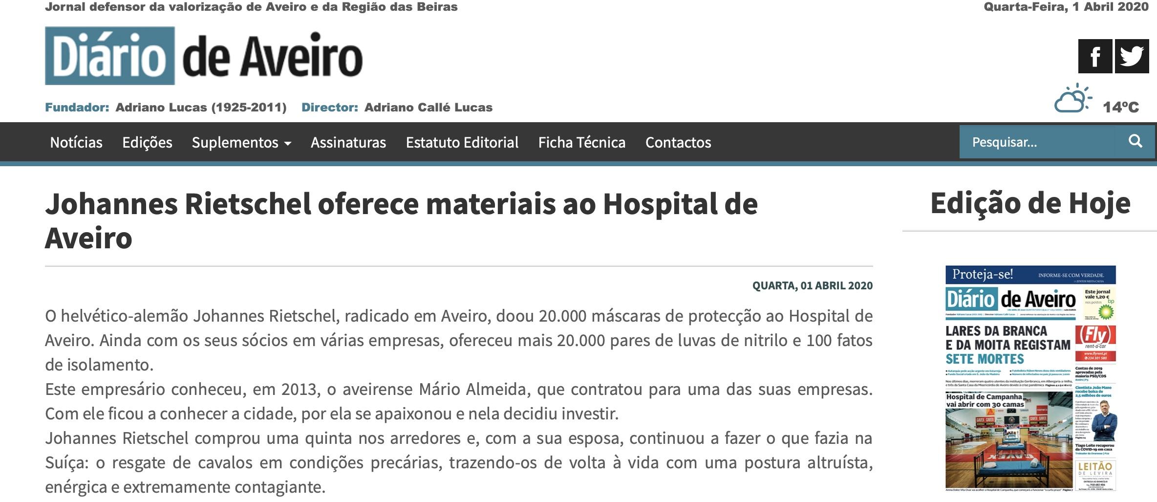 Johannes Rietschel oferece materiais ao Hospital de Aveiro